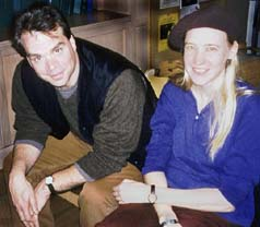 Peter Gizzi, Lisa Jarnot, in the audience at a poetry reading by Jennifer Moxley and Andrea Brady at Teachers and Writers, New York, 13 Nov 1997. Photograph by John Tranter.