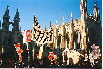 Demonstration passing King's College, Cambridge
