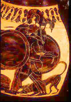 Geryon depicted on a vase, Harvard 1972.42, Attic black figure amphora, c. 550-530 B.C.