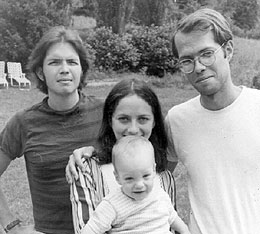 Tom Clark, Pat Padgett, Wayne Padgett, and Ron Padgett, Calais, VT, summer, 1967. Photo by Joe Brainard. Courtesy of Ron Padgett