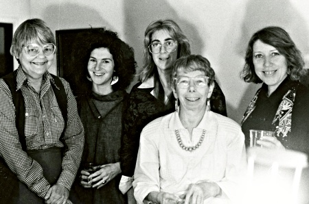 Kathleen Fraser (right) and other evolving associate and contributing editors for the original HOW(ever) magazine [1983–1989], minus the second Contributing Editor, Carolyn Burke, who did not make it to that event. Photo courtesy of UCSD Mandeville Special Collections Library.