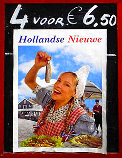 Dutch Girl eating Herring in the Traditional Manner: photo of the photo on the poster by John Tranter