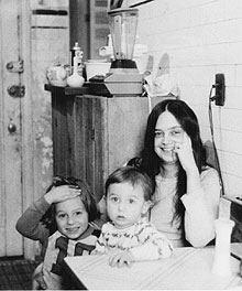 Alice Notley and her children, New York City.